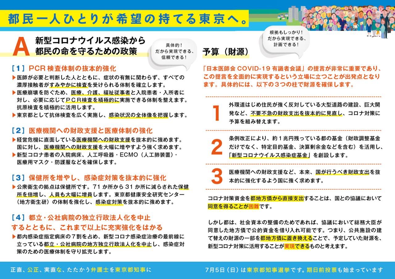 希望のまち東京をつくる会の政策裏